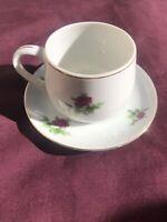 Vintage EW Japan Small Bone China White Tea Cup & Saucer Gold Trim & Pink Roses
