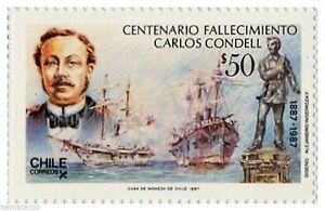 Chile 1987 #1268 Centenario Fallecimiento Carlos Condell ships MNH