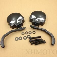 For Harley V-Rod VRSC Sportster Bobber Chopper Skull Flame Black Side Mirrors