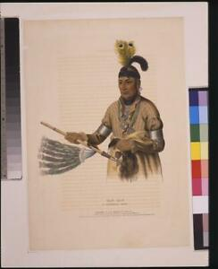 Naw-Kaw,Winnebago Chief,Indians of North America,Man,holding Peace Pipe,c1 4516