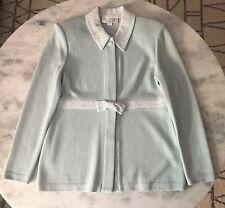 St. John Knit Evening 2 piece Rhinestone Pant Suit - Powder Blue - Sz 2
