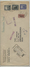 Colombia  airmail cover to US  stamps overprinted    L  1952          MS0804