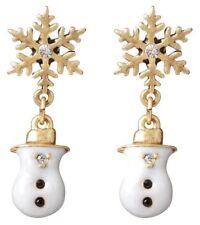 £25 Snowflake Snowman Gold White Black Drop Earrings Swarovski Elements Crystal