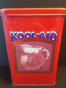 Vintage Kool-Aid Tin Red Collectible Canister Metal Empty Can