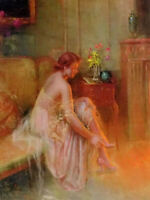 Oil painting delphin enjolras - young girl lady beauty Wearing shoes in her room