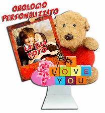 HORLOGE PERSONALISÉ IMPRESSION PHOTO SAINT VALENTIN IDÉE CADEAU TEDDY AMOUR