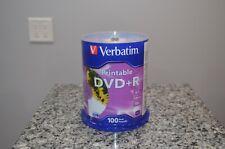 Verbatim Printable DVD+R 4.7 GB 120 min 16X Speed 100 Pack Brand New SEALED