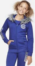 Justice Girl's Logo Faux Fur Trim Zip up Hoodie Hooded Jacket Blue Size 10