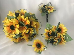 Wedding bouquets flowers sunflowers bouquet brides bridesmaid buttonholes posy