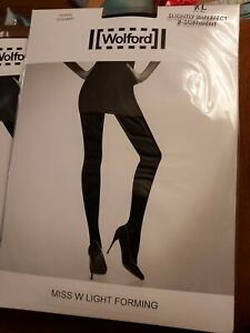 3 pairs Wolford Miss W Light Forming Tights, XL,  Black, Slight 2nd