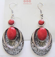 Orecchini di bigiotteria rosso ovale pendenti