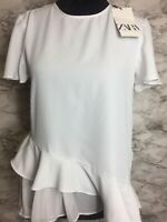 Zara Size Small White Flowy Pleated Ruffled Top