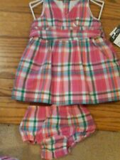 NWT $36 INFANT GIRLS AMERICAN LIVING PINK PLAID DRESS & BLOOMERS SZ 3 MONTHS