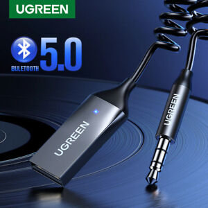Ugreen Bluetooth 5.0 Aux Adapter Wireless Car Receiver USB to 3.5mm Built-in Mic