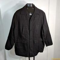 KING SIZE Wool Jacket Car Coat Overcoat Mens Size 4XL Black insulated