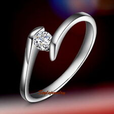 18k White Gold Plate Cubic Zirconia Women Wedding Engagement Ring SR49