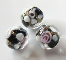 20pcs 12mm Round Lampwork Glass Beads - Black with Goldsand / Pink Flowers