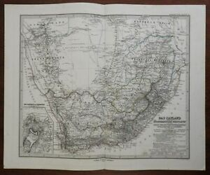 South Africa Cape Colony Orange Free State Transvaal 1876 Petermann detailed map