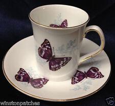 ROSINA QUEENS ENGLAND PURPLE EMPEROR FLAT CUP & SAUCER 8 OZ BUTTERFLIES
