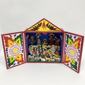 Mexican Folk Art Style Colourful Open Out Small Wooden Cupboard Nativity Scene