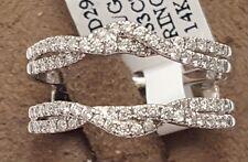 14k White Gold Antique Vintage Diamond Ring Guard Wrap Solitaire Twist Enhancer