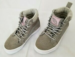 Kids Size 10.5 Grey Vans Suede Leather High Top Casual Shoes 721356 preowned