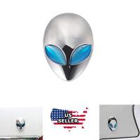 Silver Car 3D Logo Metal Aliens Auto Truck Motorcycle Emblem Badge Sticker Decal