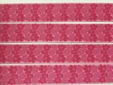 """BB Ribbon PINK ABSTRACT FLOWERS  2m grosgrain 7/8"""" 22mm craft floral"""