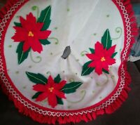 Vintage MSM Christmas Felt Tree Skirt Large Bright Poinsettias fringe poms Look!