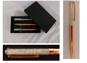 Yellow & Rose Gold ION Plated set of 3 Ink Pens with Glass Lids
