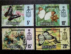 Malaysia 1977 Pulau Pinang Harrison Butterflies Photogravure Printing-4v Used #1