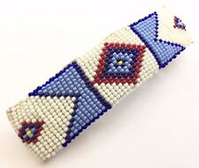 WHITE BLUE HAIR BARRETTE SEED BEADED LEATHER NATIVE STYLE INSPIRED Z54/3