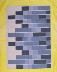 Afghan Area Rug Wool Kilim 5'x7' Striped Carpet Contemporary Design Bohemian