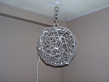 Arts and Crafts Hanging Light 12 Inch Diameter Made of Sticks and String Lights