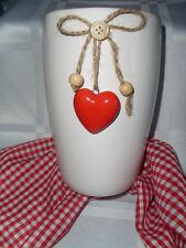 Blumenvase Landhaus Weiß Herz Rot Liebe Keramik Top-Qualität Schleife Natur 16cm