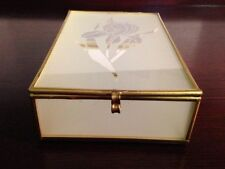 Vintage Etched with flower, Frosted Glass and Brass Jewelry Trinket Box