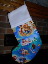 FISHING SANTA, BEACH, OCEAN, TROPICAL HANDMADE CHRISTMAS STOCKING *FREE SHIP