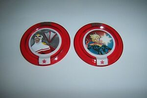 DISNEY INFINITY 2.0 Marvel Power Disc Lot Ultimate Falcon & Captain Marvel RARE$
