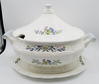 CHANTECLAIR HAND PAINTED ROOSTER FINE CERAMIC 3 QUART SOUP TUREEN WITH PLATTER
