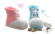 Spardose Babyschuh rosa oder blau Keramik Geldgeschenk Taufgeschenk