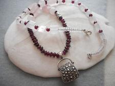 Sterling Rose Quartz Garnet Marcasite Purse Pendant Necklace  5210C