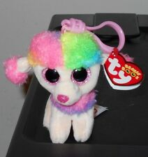 Ty Beanie Boos ~ RAINBOW the Poodle Dog Key Clip Size ~2017 NEW w/ Tags -IN HAND