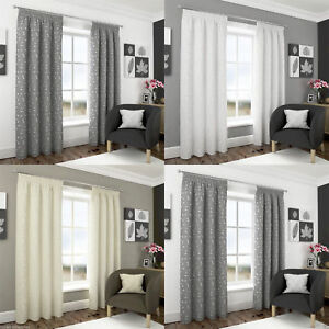 """Harrogate Leaf Embroidered Lined Voile 3"""" Tape Top Pencil Pleat Curtains Pair"""