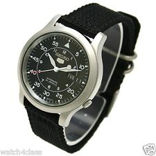 NEW SEIKO SNK809K2 AUTOMATIC military WATCH (CAL.7S26C) Black face nylon strap