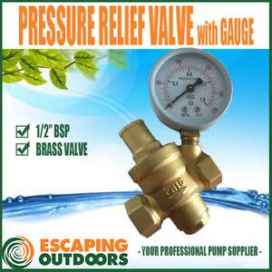 """DN 1/2"""" WATER PRESSURE REDUCING VALVE w GAUGE - BRASS RESTRICTING RELIEF VALVE"""