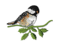 SWEET CHICKADEE ON A BRANCH - BIRD - IRON ON APPLIQUE PATCH - R