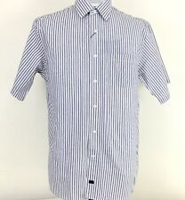 Fusion Sportwear Mens Shirt Size Large White Blue Brown Stripes Short Sleeve New