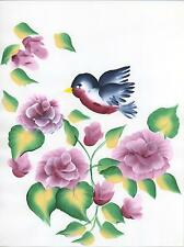 PINK ROSES BLUE BIRD GARDEN FLOWERS SHABBY GARDEN TOLE CHIC FOLK NAIVE PAINTING