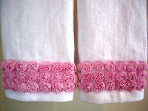 PINK ROSE Fingertip/Guest Towel set (2) WHITE Velour Cotton by UtaLace NEW