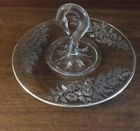 """Paden City Swan Handle Sterling overlay Lunch Tray 11"""""""